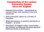 complexities of sri lankan university system vis a vis english