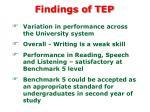 findings of tep