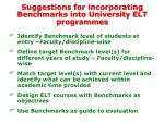 suggestions for incorporating benchmarks into university elt programmes