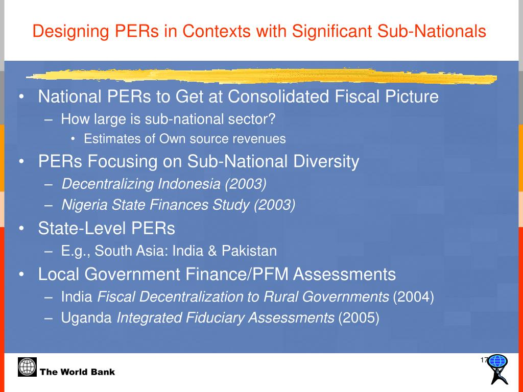 Designing PERs in Contexts with Significant Sub-Nationals