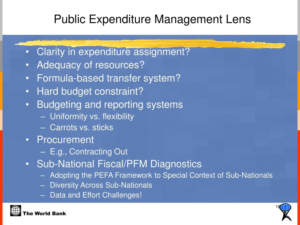 Public Expenditure Management Lens