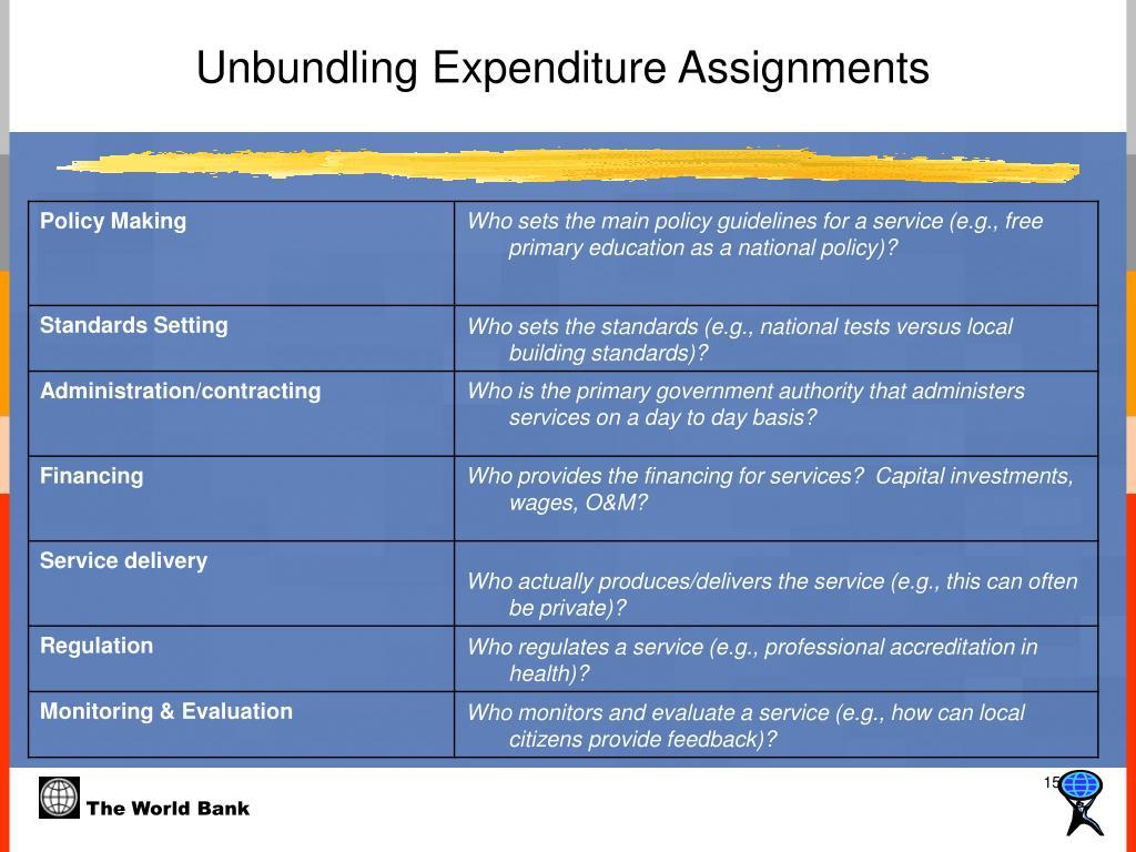 Unbundling Expenditure Assignments