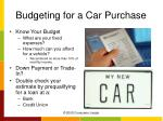 budgeting for a car purchase