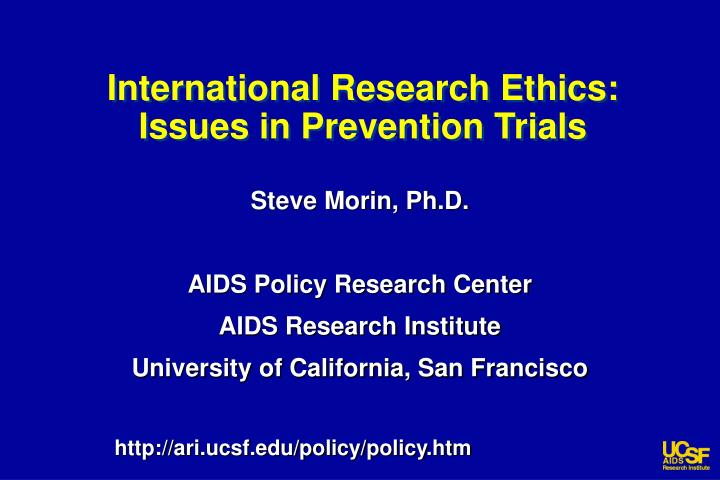 international research ethics issues in prevention trials n.