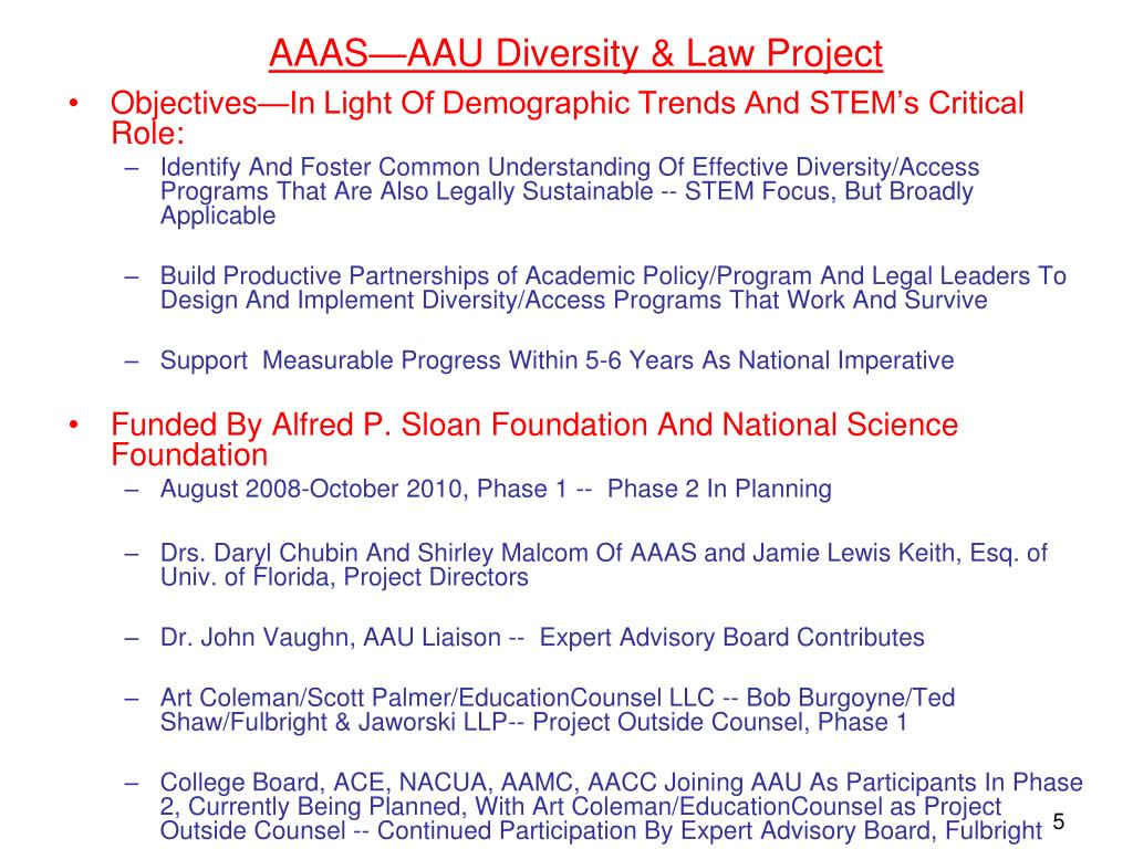 AAAS—AAU Diversity & Law Project