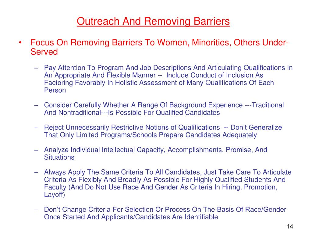 Outreach And Removing Barriers