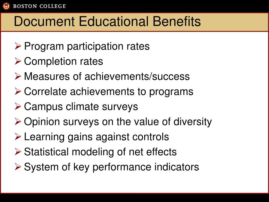 Document Educational Benefits