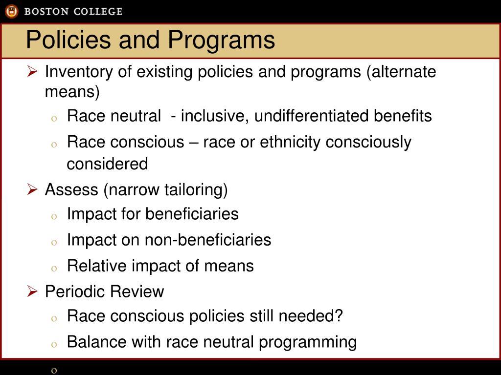 Policies and Programs