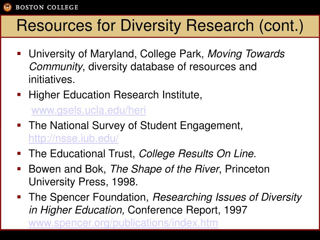 Resources for Diversity Research (cont.)