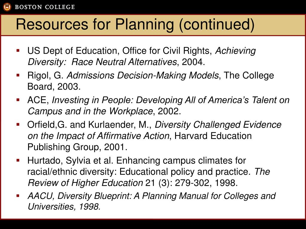 Resources for Planning (continued)