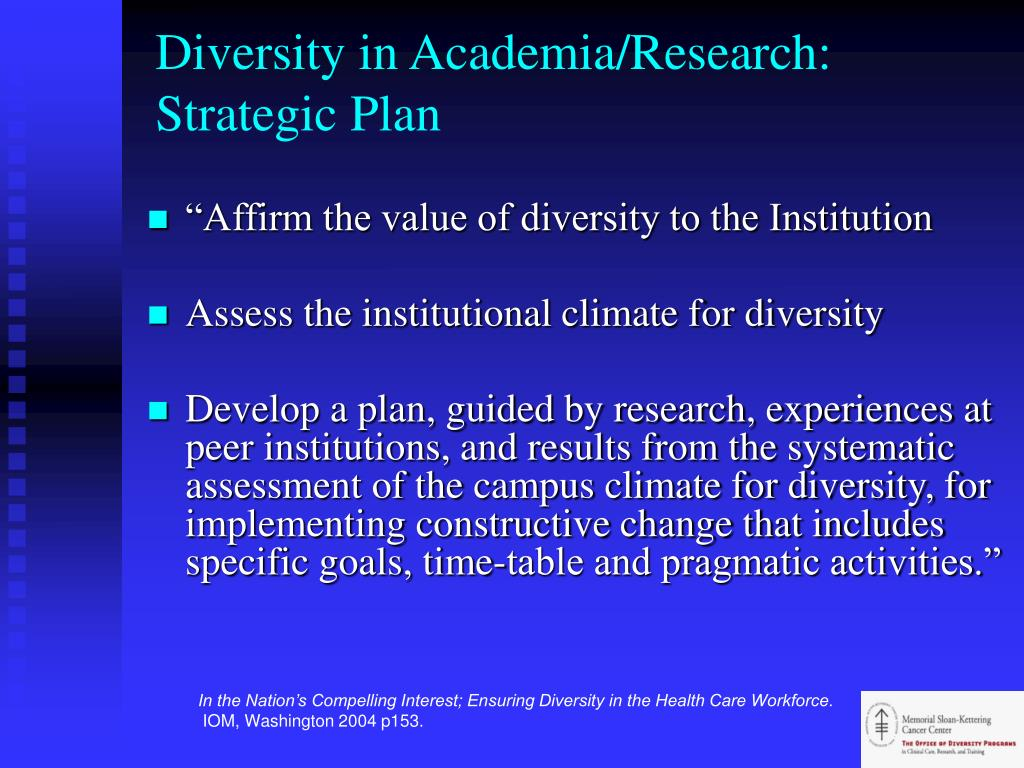 Diversity in Academia/Research: Strategic Plan