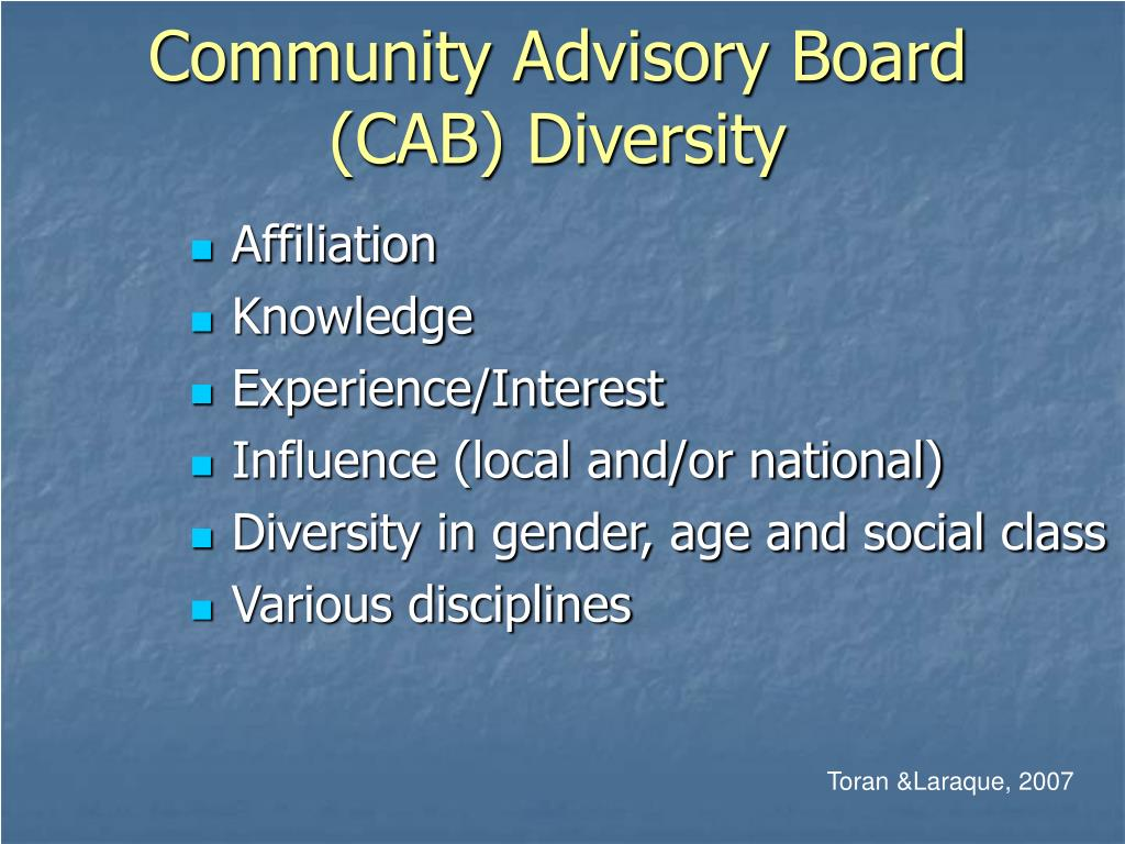 Community Advisory Board (CAB) Diversity