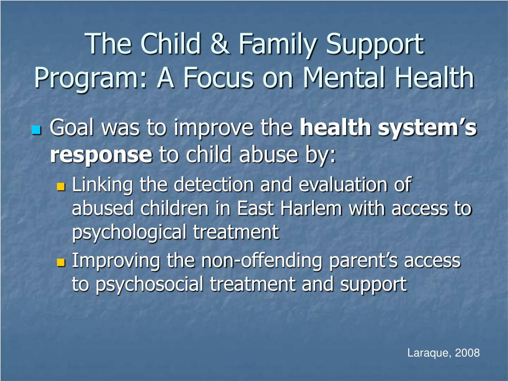 The Child & Family Support Program: A Focus on Mental Health
