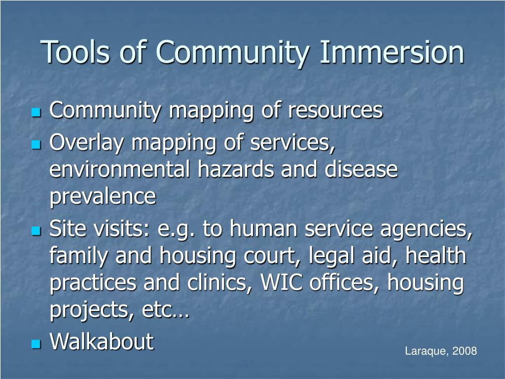 Tools of Community Immersion