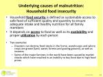 underlying causes of malnutrition household food insecurity