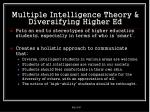 multiple intelligence theory diversifying higher ed
