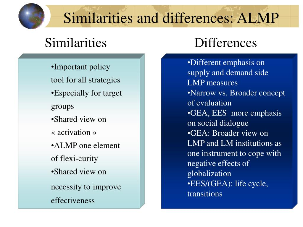 Similarities and differences: ALMP