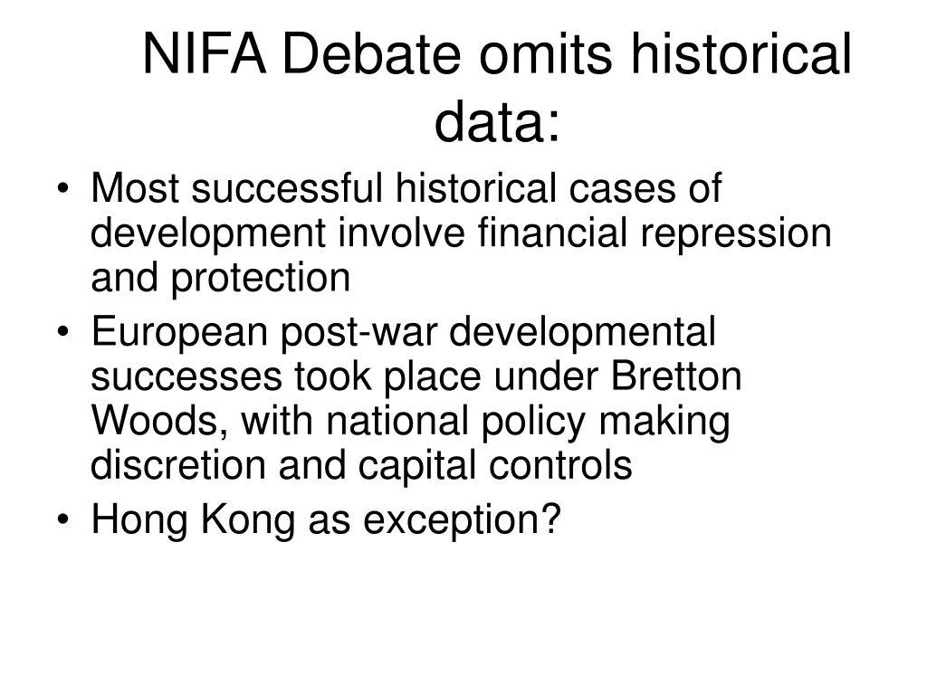 NIFA Debate omits historical data: