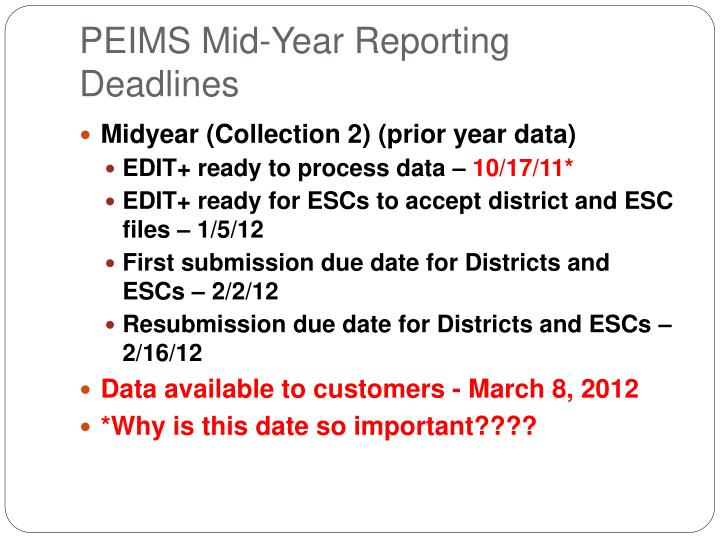 PEIMS Mid-Year Reporting Deadlines