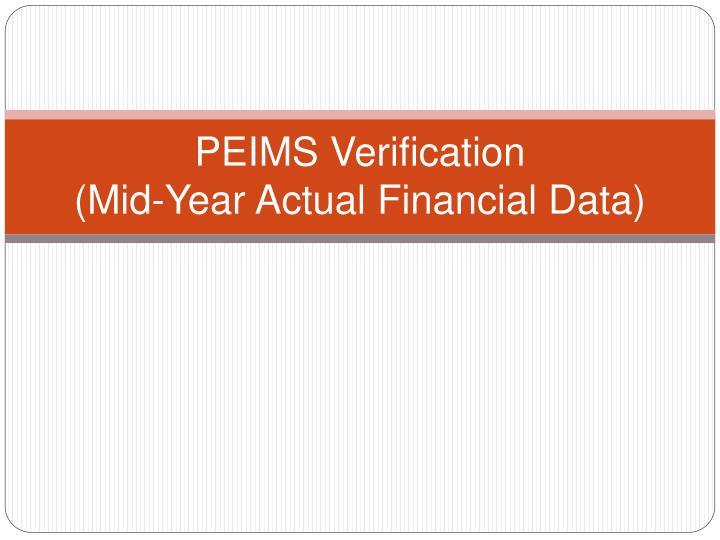 PEIMS Verification