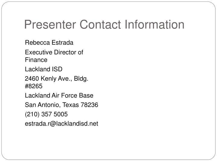 Presenter Contact Information