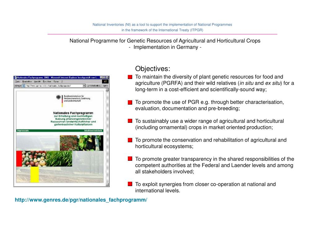 National Programme for Genetic Resources of Agricultural and Horticultural Crops