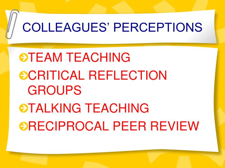 COLLEAGUES' PERCEPTIONS
