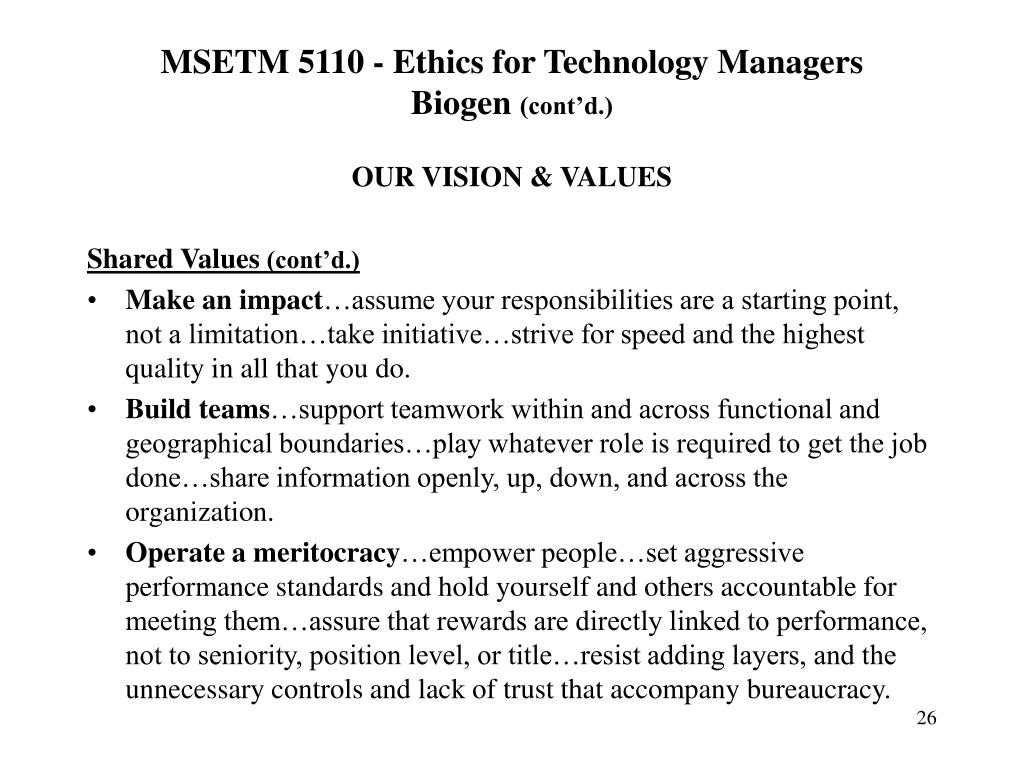 MSETM 5110 - Ethics for Technology Managers