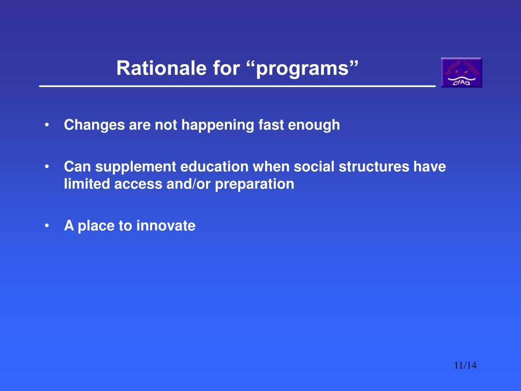 """Rationale for """"programs"""""""