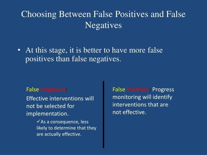 Choosing Between False Positives and False Negatives