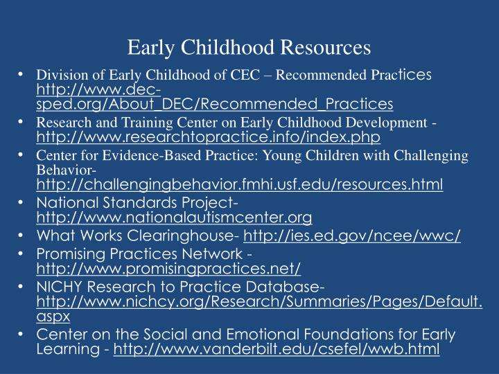 Early Childhood Resources
