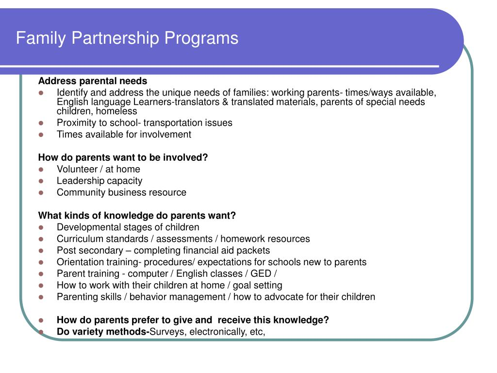 Family Partnership Programs