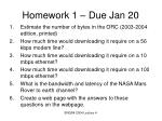 homework 1 due jan 20