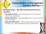 characteristics of management decision making cont2