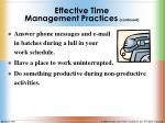 effective time management practices continued