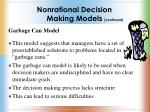 nonrational decision making models continued