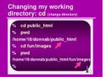 changing my working directory cd change directory