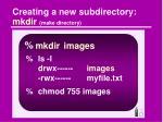 creating a new subdirectory mkdir make directory