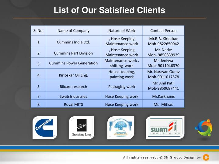 List of Our Satisfied Clients