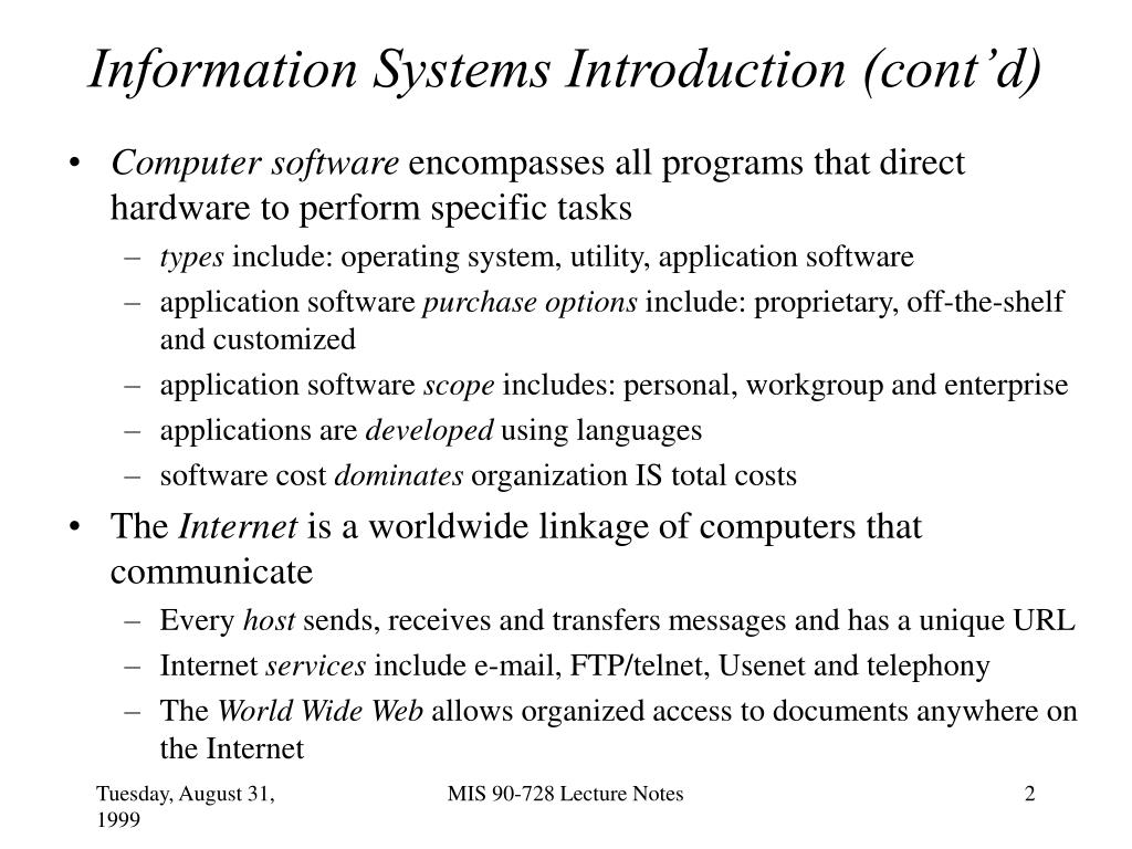 Information Systems Introduction (cont'd)