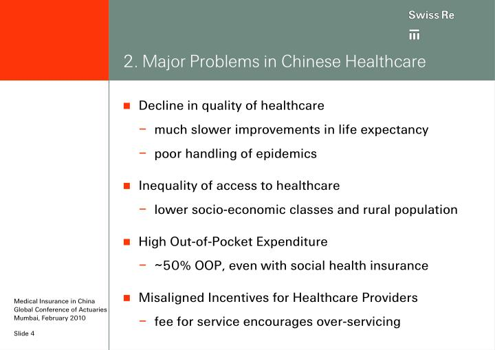 2. Major Problems in Chinese Healthcare