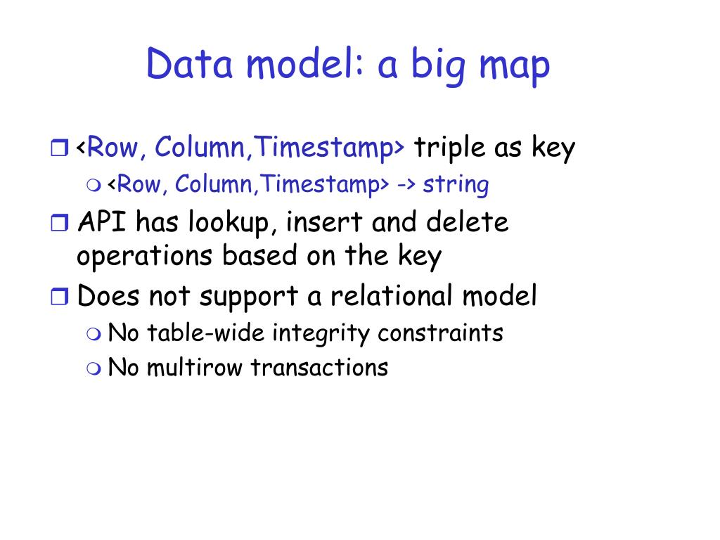 Data model: a big map