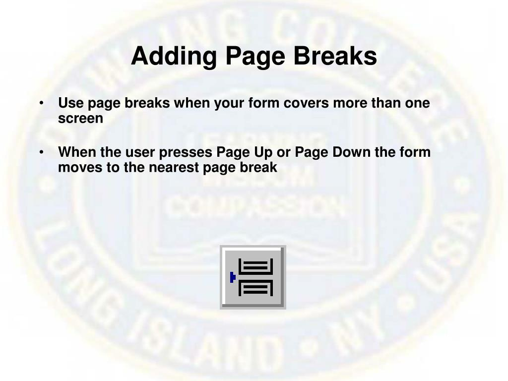 Adding Page Breaks