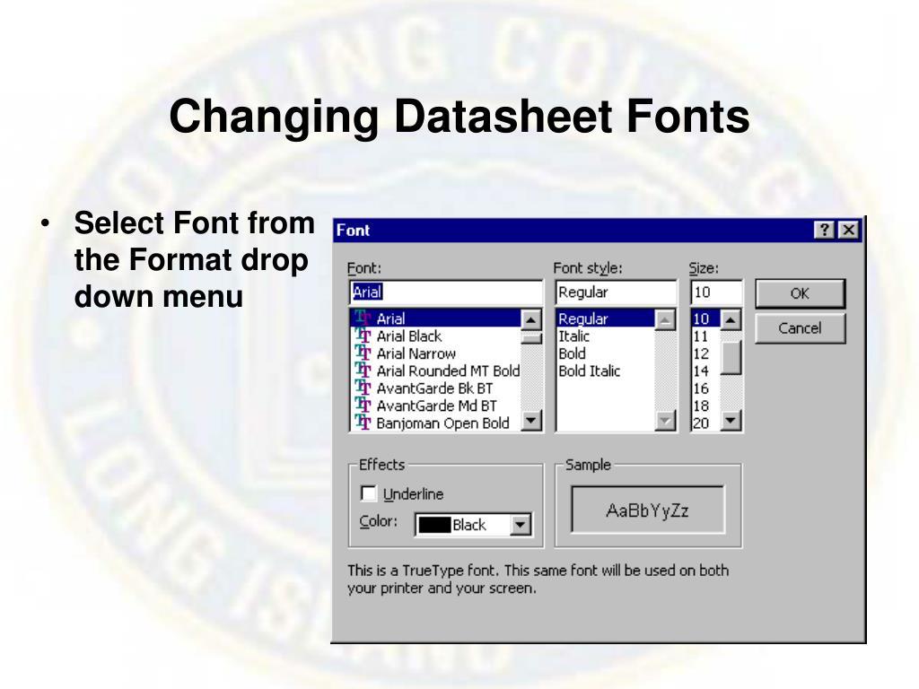 Changing Datasheet Fonts