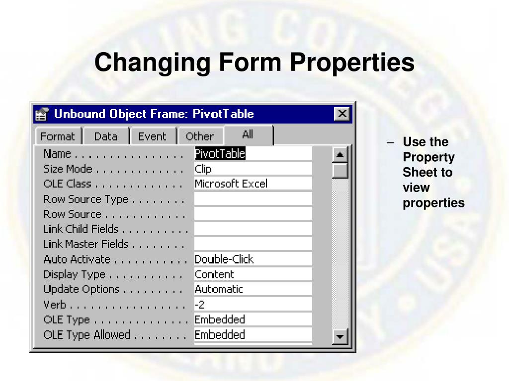 Changing Form Properties