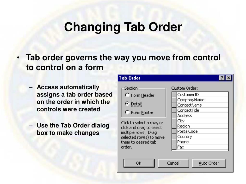 Changing Tab Order