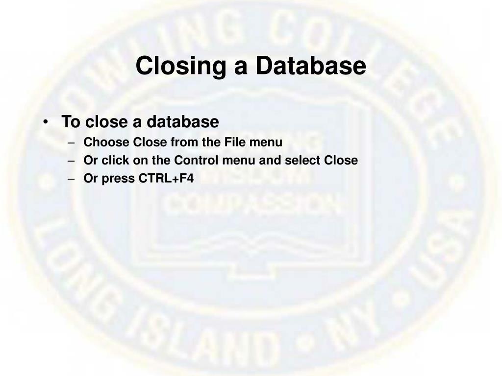 Closing a Database