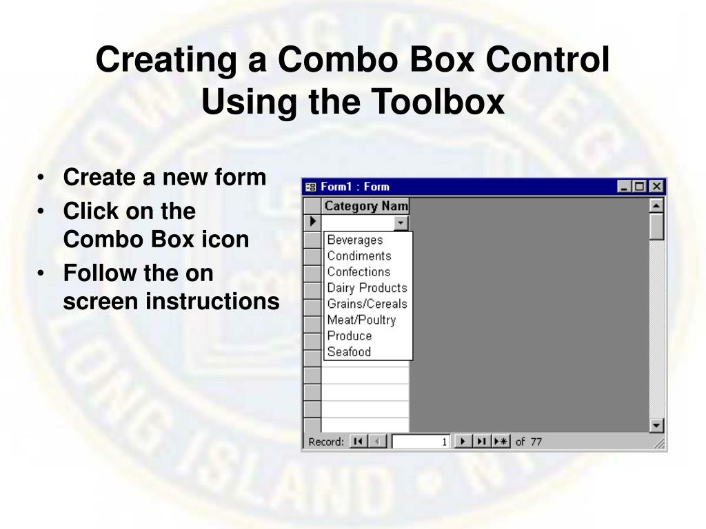 Creating a Combo Box Control