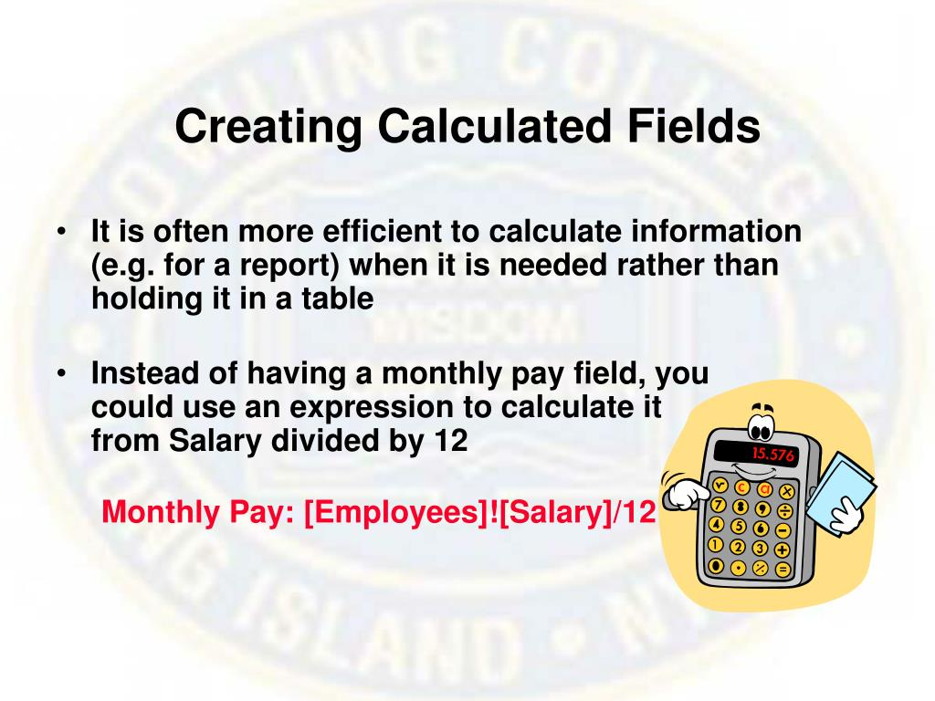 Creating Calculated Fields
