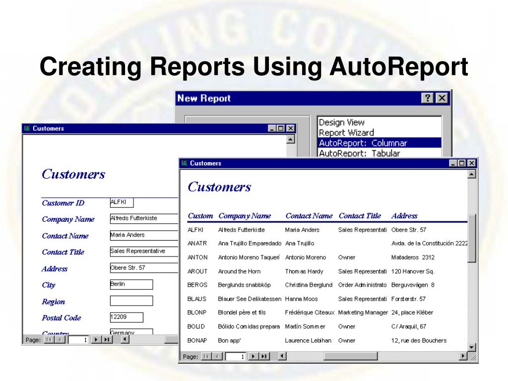 Creating Reports Using AutoReport